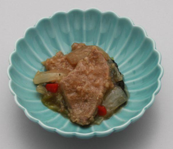 チンゲン菜とレバーの炒め物