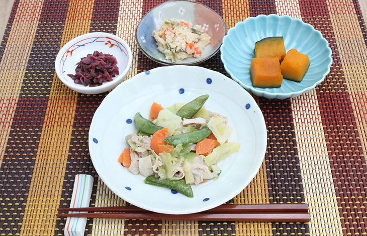 豚肉と3種の野菜塩炒め献立